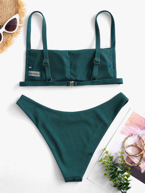 women's ZAFUL Ribbed Square Collar Bikini Swimwear - PEACOCK BLUE L Mobile