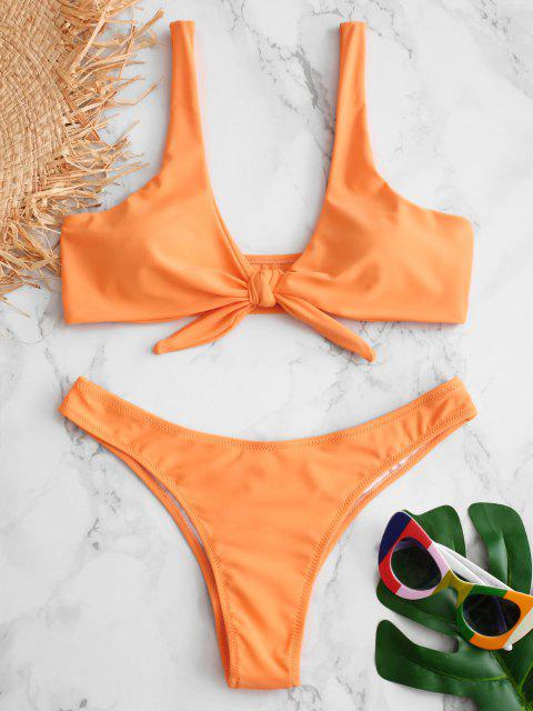 fancy Scrunch Butt Knotted Thong Bikini - MANGO ORANGE M Mobile