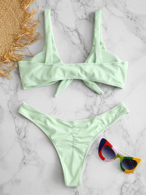 fashion Scrunch Butt Knotted Thong Bikini - MINT GREEN S Mobile