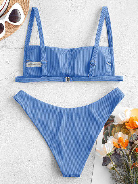 trendy ZAFUL Ribbed Square Collar Bikini Swimwear - BLUE S Mobile