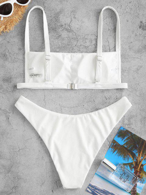 fashion ZAFUL Ribbed Square Collar Bikini Swimwear - WHITE S Mobile