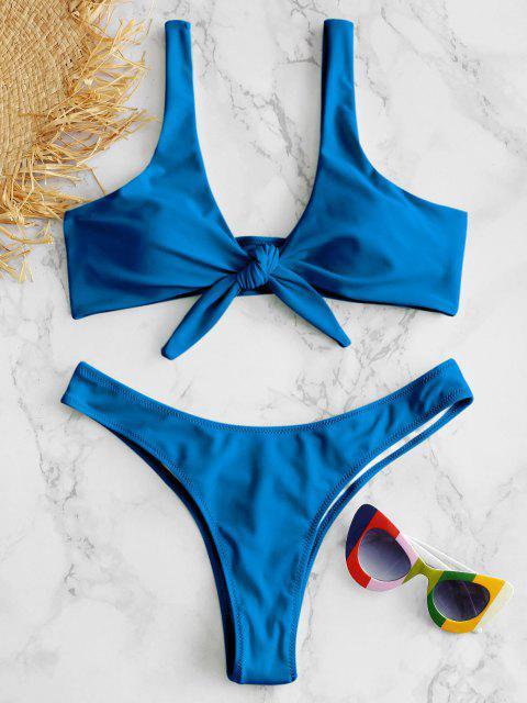 shop Scrunch Butt Knotted Thong Bikini - OCEAN BLUE M Mobile