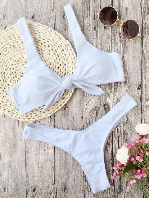 best Scrunch Butt Knotted Thong Bikini - WHITE M Mobile