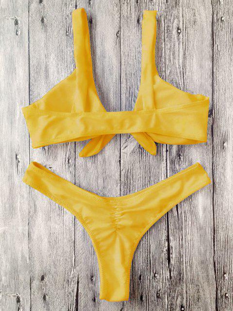 lady Scrunch Butt Knotted Thong Bikini - MUSTARD M Mobile