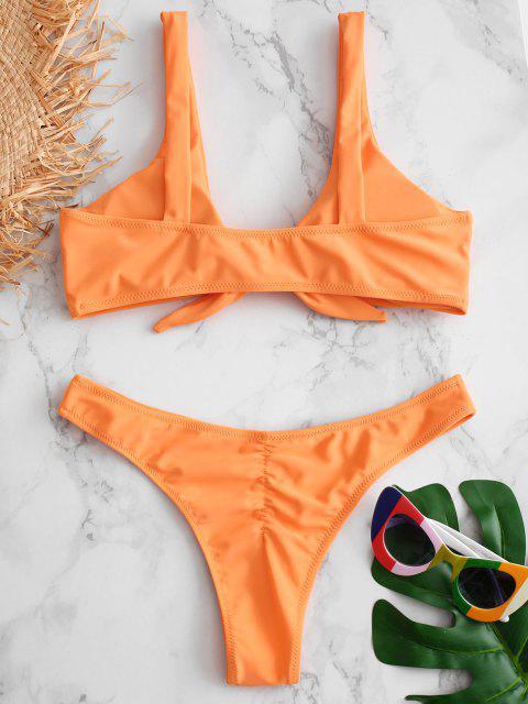 online Scrunch Butt Knotted Thong Bikini - MANGO ORANGE S Mobile