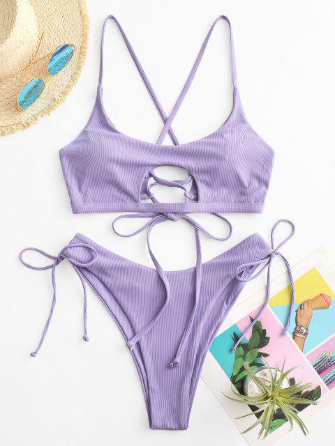ZAFUL Maillot de Bain Bikini Côtelé à Coupe Haute à Lacets - Violet clair L Mobile