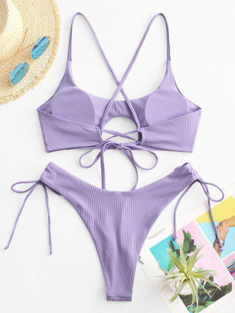 ZAFUL Maillot de Bain Bikini Côtelé à Coupe Haute à Lacets - Violet clair S Mobile
