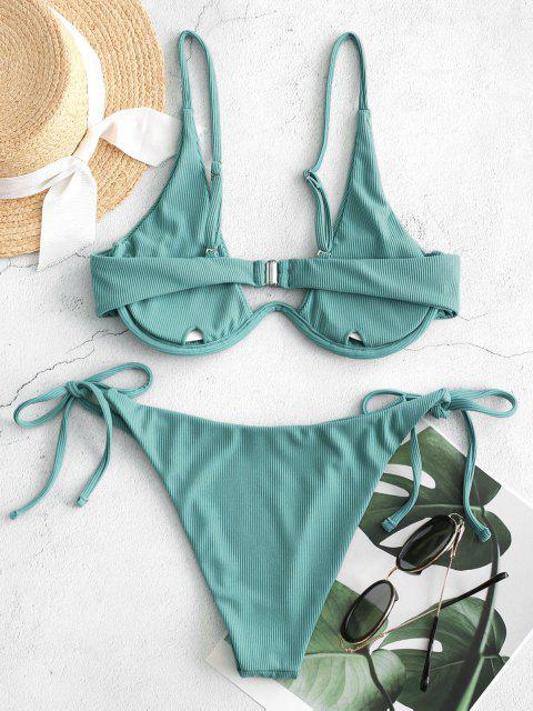 Bikini Annodato a Costine con Ferretto di ZAFUL - Verde chiaro S Mobile