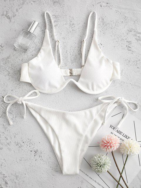 ZAFUL التعادل الجانب Underwire مضلع بيكيني ملابس السباحة - أبيض S Mobile