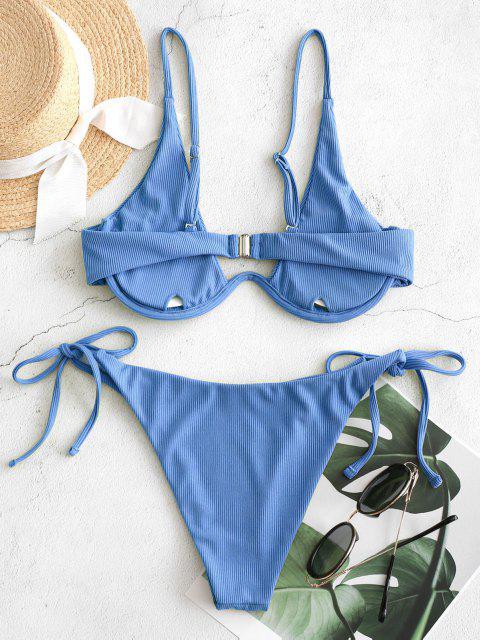 ZAFUL Traje de Baño Acanalado con Aros - Azul de Seda M Mobile