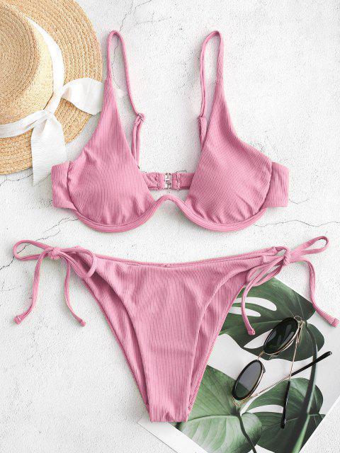 women's ZAFUL Tie Side Underwire Ribbed Bikini Swimsuit - PINK M Mobile