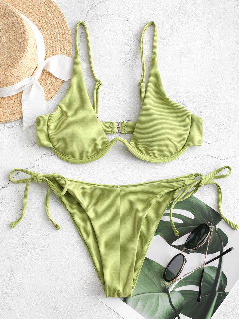 ladies ZAFUL Tie Side Underwire Ribbed Bikini Swimsuit - GREEN SNAKE S Mobile
