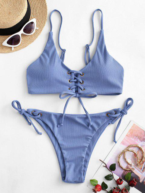 latest ZAFUL Lace-up Tie Side Ribbed Bikini Swimsuit - CORNFLOWER BLUE M Mobile