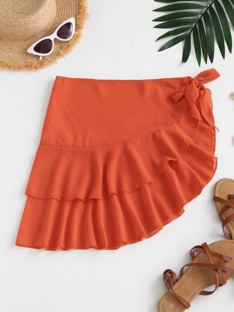 affordable Tiered Flounce Chiffon Tie Cover Up Sarong - ORANGE ONE SIZE Mobile