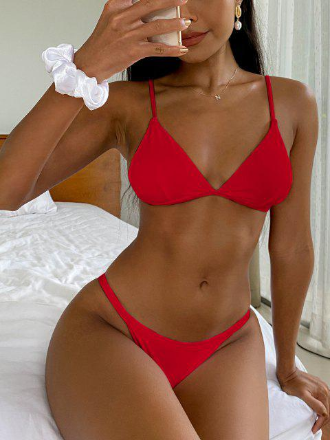 fancy Low Waisted Spaghetti Strap Bikini Swimwear - RED L Mobile