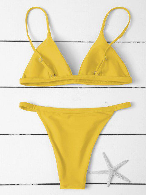 hot Low Waisted Spaghetti Strap Bikini Swimwear - YELLOW L Mobile