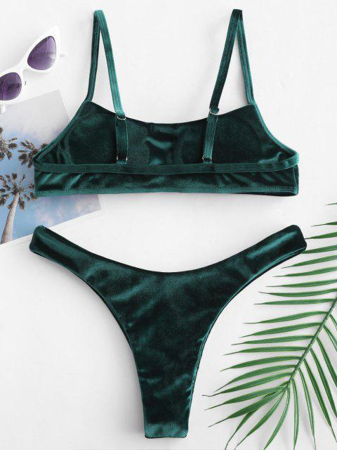 women's ZAFUL Velvet High Leg Bikini Set - MEDIUM SEA GREEN S Mobile