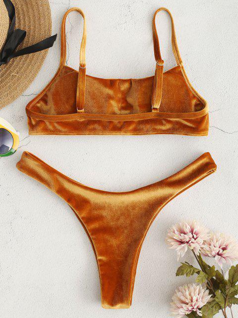 affordable ZAFUL Velvet High Leg Bikini Set - LIGHT BROWN S Mobile