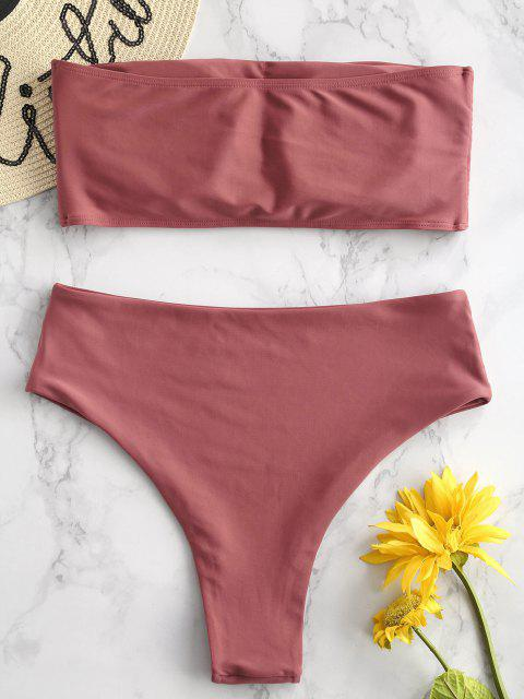 unique ZAFUL High Waisted Bandeau Bikini Set - CHESTNUT M Mobile