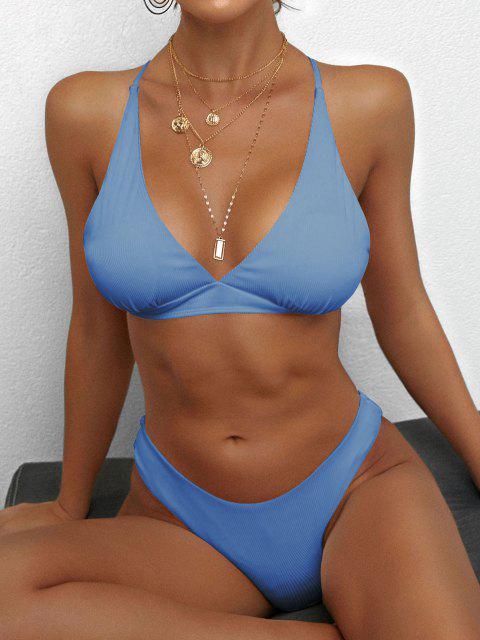 online ZAFUL Crisscross Back Ribbed Bikini Swimsuit - LIGHT BLUE M Mobile