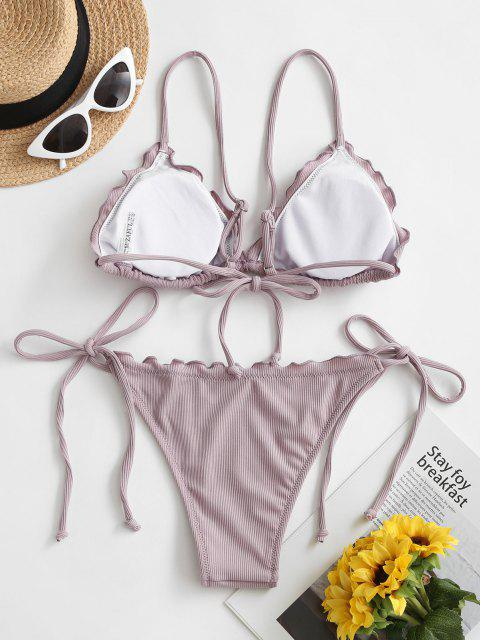 ZAFUL Conjunto de Bikini Atado con Adorno de Pliegue de Vieira - Lila M Mobile