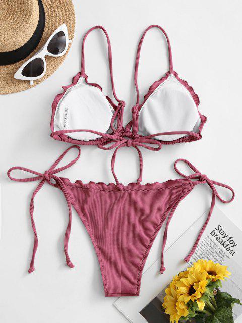 women's ZAFUL Lettuce Trim Tied String Bikini Set - BLUSH RED M Mobile