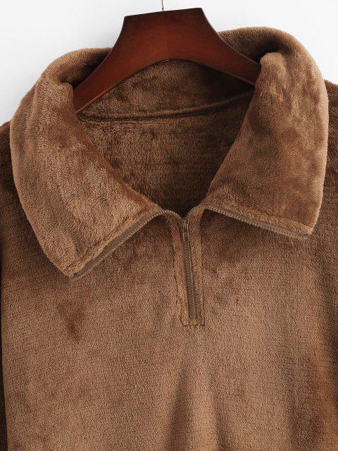 ZAFUL Sweat-shirt Zippé Fourré Grande Taille - café L Mobile