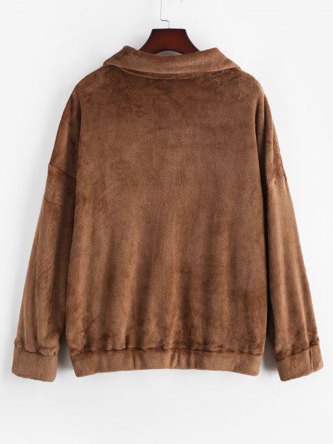 lady ZAFUL Plus Size Fluffy Quarter Zip Sweatshirt - COFFEE 5XL Mobile