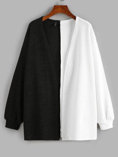 unique ZAFUL Two Tone Open Front Cardigan - BLACK M Mobile