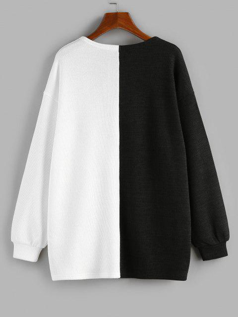 womens ZAFUL Two Tone Open Front Cardigan - BLACK L Mobile