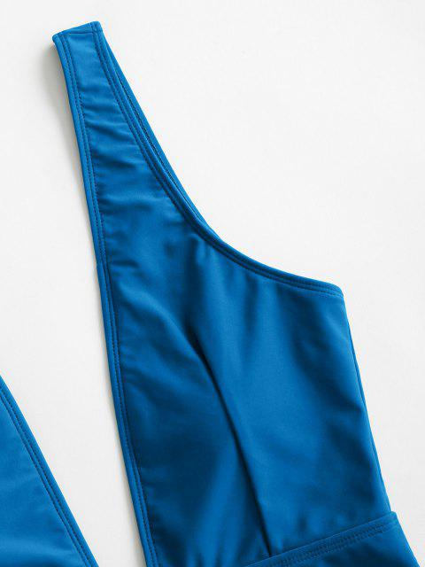 sale High Cut Plunge Neck Swimsuit - OCEAN BLUE L Mobile