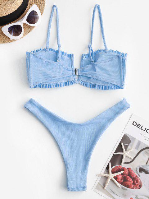 best ZAFUL Ribbed V-notch Ruched High Cut Bikini Swimwear - LIGHT BLUE S Mobile