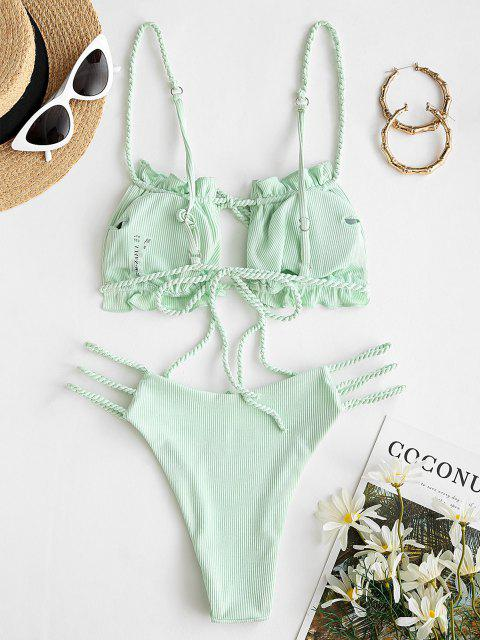 shops ZAFUL Ribbed Braided Ladder Cutout Tie Bikini Swimwear - LIGHT GREEN S Mobile
