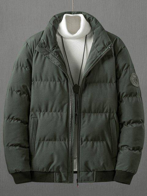 outfit Letter Tiger Badge Patch Padded Jacket - DEEP GREEN L Mobile