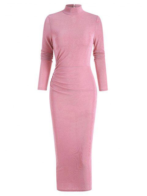 outfits Draped Knitted Mock Neck Bodycon Tea Length Dress - LIGHT PINK S Mobile