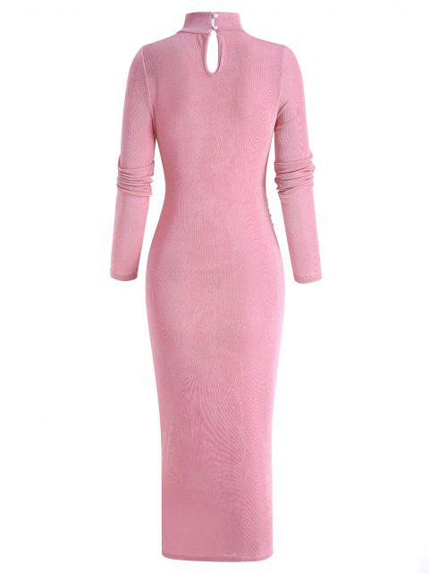 outfit Draped Knitted Mock Neck Bodycon Tea Length Dress - LIGHT PINK L Mobile