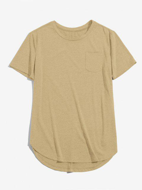 ladies ZAFUL Solid Chest Pocket High Low T-shirt - LIGHT COFFEE S Mobile