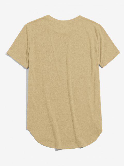 ZAFUL Solid Chest Pocket High Low T-shirt - القهوة الخفيفة M Mobile
