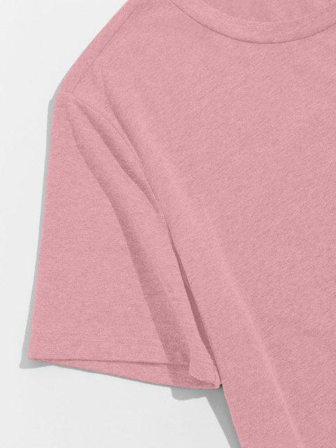 hot ZAFUL Solid Chest Pocket High Low T-shirt - LIGHT PINK S Mobile