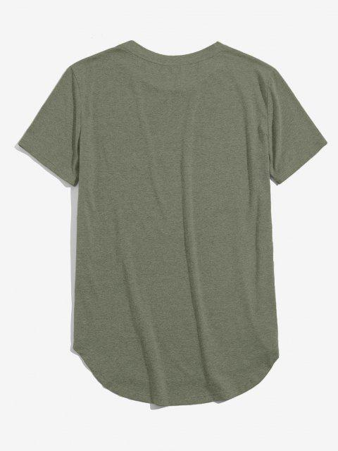 trendy ZAFUL Solid Chest Pocket High Low T-shirt - LIGHT GREEN M Mobile