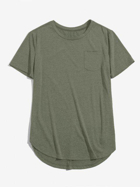 fancy ZAFUL Solid Chest Pocket High Low T-shirt - LIGHT GREEN 2XL Mobile