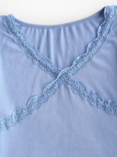 V Ausschnitt Scalloped Trim Baby T-Shirt - Hellblau M Mobile