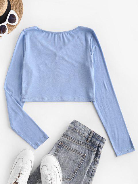 V Ausschnitt Scalloped Trim Baby T-Shirt - Hellblau S Mobile
