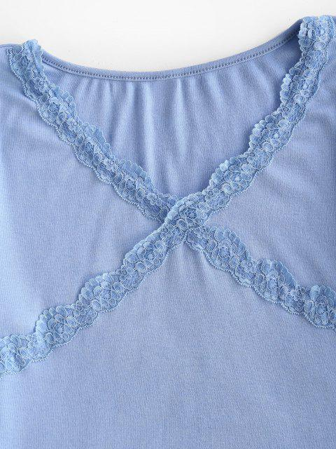 affordable V Neck Scalloped Lace Trim Baby Tee - LIGHT BLUE XL Mobile