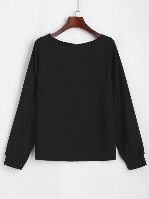 shops Split Sleeve Keyhole Back Pullover Blouse - BLACK M Mobile