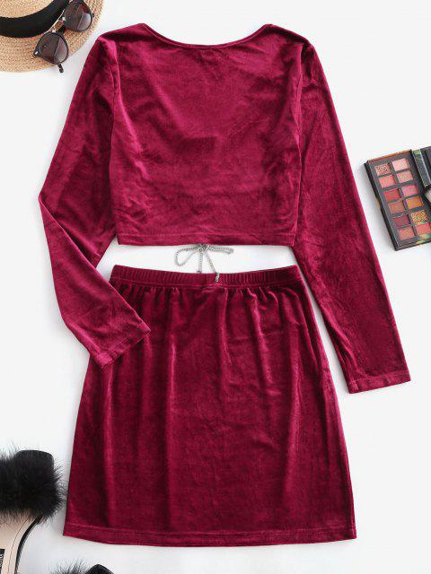 affordable Lace Up Chain Velvet Mini Skirt Set - DEEP RED XS Mobile