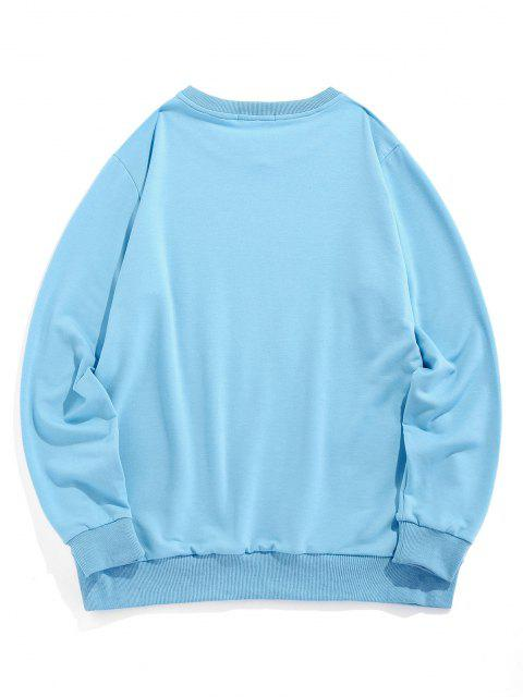 affordable ZAFUL Cartoon Car Print Graphic Sweatshirt - LIGHT BLUE M Mobile
