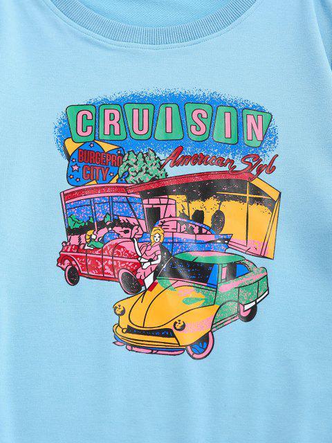 buy ZAFUL Cartoon Car Print Graphic Sweatshirt - LIGHT BLUE L Mobile