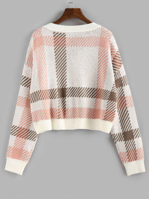 online ZAFUL Plaid V Neck Sweater - LIGHT PINK L Mobile