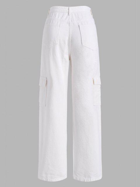 shops Boyish Pockets High Waisted Wide Leg Cargo Jeans - WHITE L Mobile